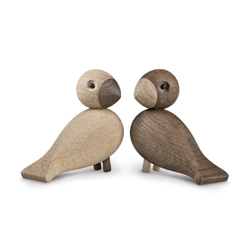 Kay Bojesen Die Unzertrennlichen Holzfiguren, braun 2 Holzvögel aus Eiche