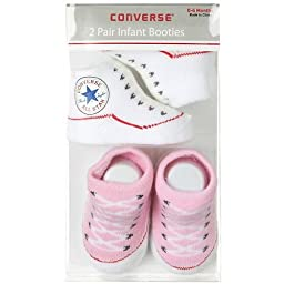 Converse 2 Pack Infant Booties 0-6 Months Pink/White