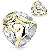 STR-0048 Stainless Steel Two Tone IP Smoke Swirl Hearts Frontal Ring; Comes With Free Gift Box
