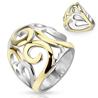 STR-0048 Stainless Steel Two Tone IP Smoke Swirl Hearts Frontal Ring; Comes With Free Gift Box (8) (Two Tone Heart Ring compare prices)