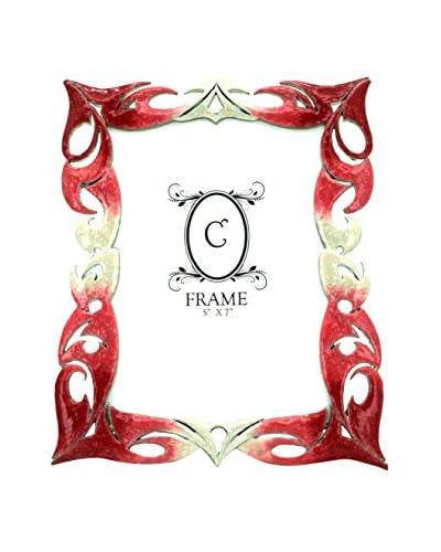 5″ x 7″ Pewter Frame, Pink/White