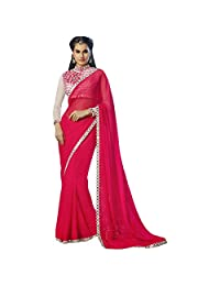 Indian Divine Magenta Colored Border Worked Chiffon Saree By Triveni