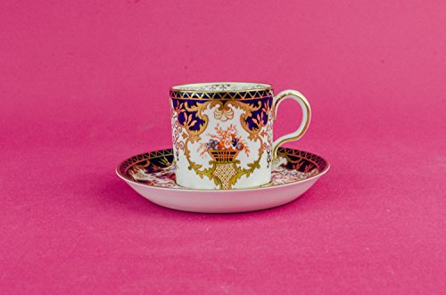 Antique Spectacular Saucer COFFEE CUP Royal Crown Derby Serving Neo-Classical Bone China Blue Floral English 1910s LS