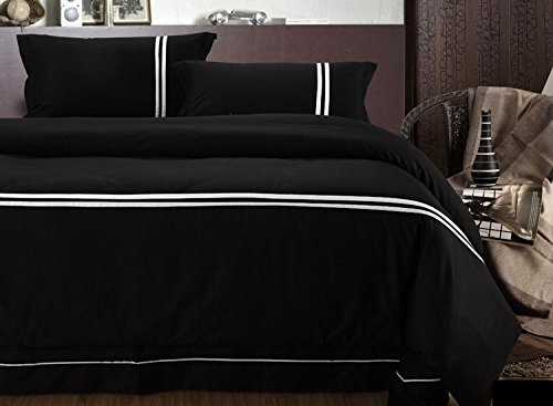 Lt Queen King Size 100% Cotton 5 Star Hotel Bedding 4-Pieces Black And White Stripe Solid Plain Prints Duvet Cover Set/Bed Linens/Bed Sheet Sets/Bedclothes/Bedding Sets/Bed Sets/Bed Covers/5-Pieces Comforter Sets (4, Queen) front-790080