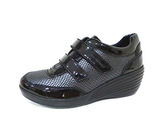 Stonefly Ebony 107406 scarpe donna sneakers nere con zeppa e velcro n° 38