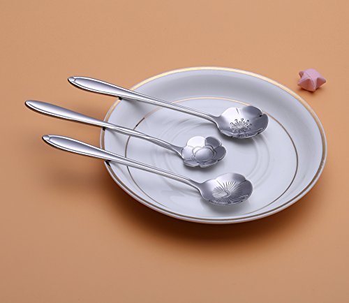 Chichic 8 Pcs Stainless Steel Tableware Creative Flower Coffee Spoon, Stirring Spoon, Sugar Spoon, Stir Bar Spoon, Mixing Spoon, Tea Spoon, Ice Tea Spoon, Ice Cream Spoons (8 Pcs Silver)