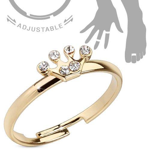bungsa® Principessa Corona media anello Zehring cristallo oro Rose Gold regolabile donna (fusssc hmuck Fuss anello di Toe Nail anello Mittel-Anello Flessibile Regolabile Donne Uomo uomini