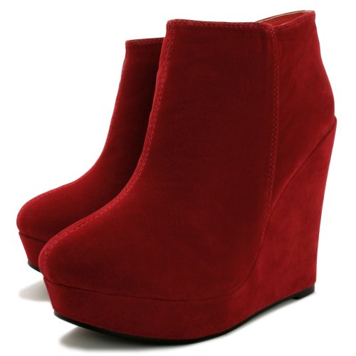 Wedge Heel Platform Ankle Boots Red US Sz 7
