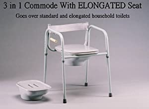 Elongated Seat 3 in One Bedside Commode, Made in USA [Health and Beauty]