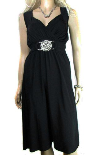 Ladies Jet Black Grecian Wrap Dress With Silver Buckle In Knee Length ...