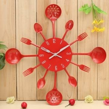 Kitchen Utensil Wall Clock Spoon Fork Home Decoration