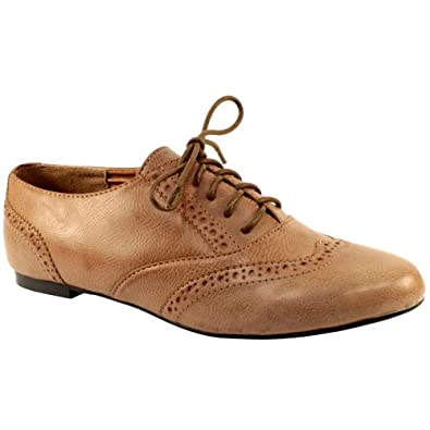 womens new brogue lace up oxford pumps shoes flats 3 8