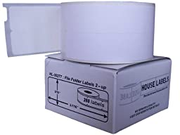 Houselabels 9/16 x 3-7/16 Inches Dymo-Compatible 30277 File Folder Labels 2-Up, 1 Roll, 260 Labels per Roll
