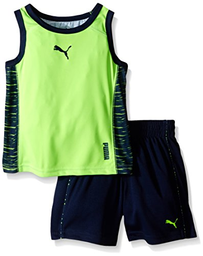PUMA Little Boys Contrast Back Muscle Short Set, Green, 6