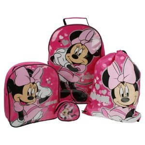 Dminn001059 Childrens Disney Minnie Mouse 4 Piece Wheeled Trolley Bag Backpack Swimbag And Purse Luggage Travel Set