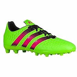 adidas Performance Ace 16.3 FG/AG J Soccer Shoe (Little Kid/Big Kid),Green/Shock Pink/Black,4.5 M US Big Kid