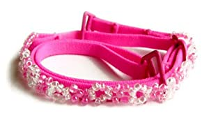 Hot Pink Bra Straps w/ pink beads-F102HP-B1 As shown,O/S from Margarita
