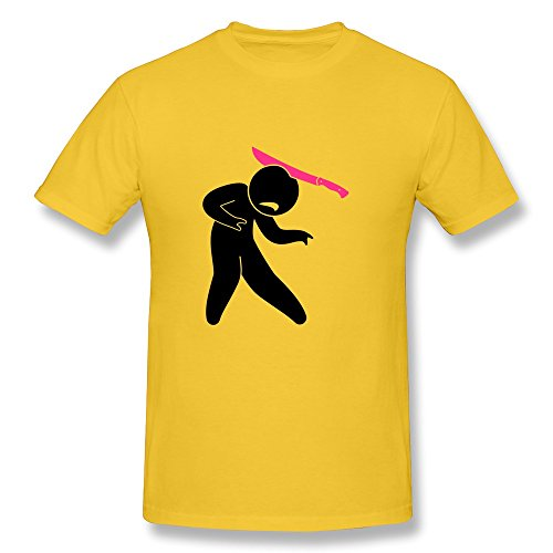 Lzf Men'S Zombie Pink Knife Its Head Cotton T-Shirt S Gold