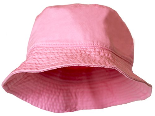 Kmystic Solid Cotton Plain Bucket Hat (Small/Medium, Baby Pink) front-1039167