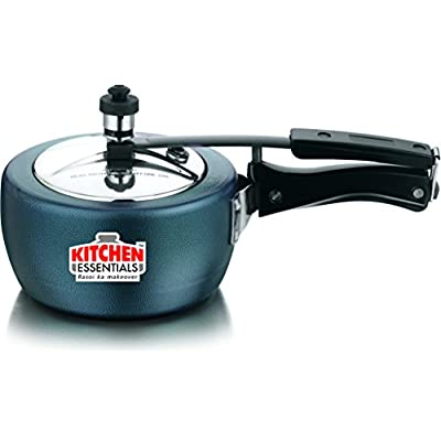 Kitchen Essentials Naarangi Hard Anodised Pressure Cooker-2 liter (Inner lid),Black , 5 Years Gurantee