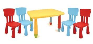 kinder sitzgarnitur viereckiger tisch 4 st hle f r garten und haus bunt da975. Black Bedroom Furniture Sets. Home Design Ideas