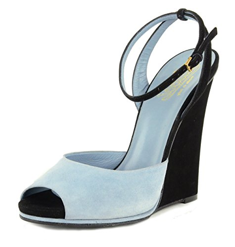Gucci Shoes Wedge Peep Toe Ankle Strap Blue and Black Suede Leather