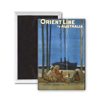 Orient Line to Australia poster - 3x2 inch Fridge Magnet - large magnetic button - Magnet