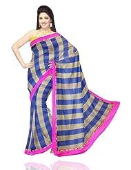 Unnati Silks Women Handloom Chanderi Sico Blue'Yellow Saree