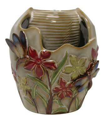 Ceramic Tabletop Fountain Bird and Flowers