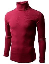 Doublju Mens Basic Knitted Turtleneck Slim Fit Pullover Sweaters of Various Colors, RedLarge
