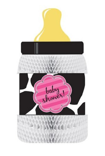 Creative Converting Baby Girl Cow Print Bottle-Shaped Honeycomb Centerpiece