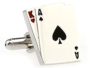 Ace King Blackjack Big Slick Playing Cards Cufflinks with a Presentation Gift Box