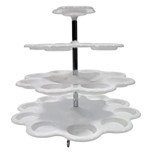 Imperial 4 Tier Plastic Cupcake / Dessert Stand - Up to 24 Cupcake Holder Stand White