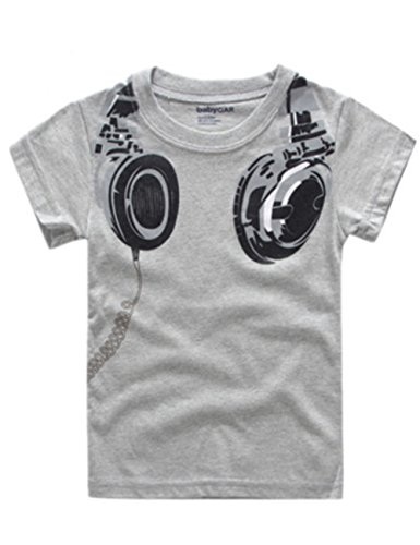 Baby Boys T Shirts Short Sleeve Tops Hot Fashion Headphone Pattern (Size 3T For Boys Aged 3, Grey)