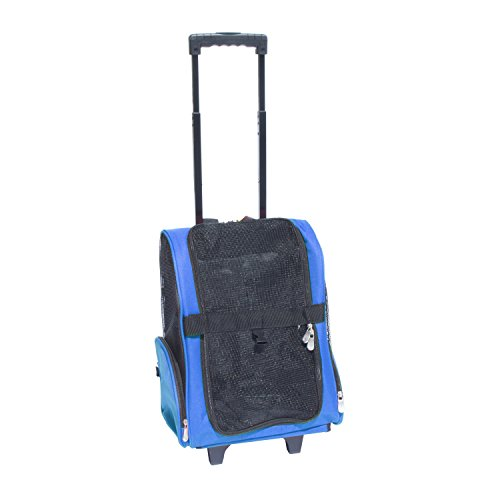ALEKO Pet Travel Rolling Luggage Carrier Bag Backpack for Dogs & Cats, Blue