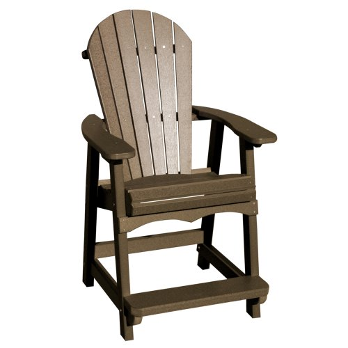 VIFAH V1086-WW Recycled Plastic Adirondack Bar Chair, Weathered Wood (Discontinued by Manufacturer) image