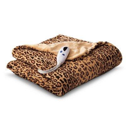 Buy Discount Micro Plush Heated Throw Blanket (Leopard)