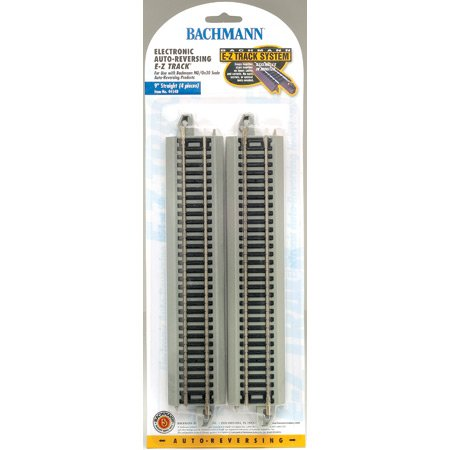 "Bachmann Trains Snap-Fit E-Z Track Nickel Silver Reversing 9"" Straight Track(4/Card)"