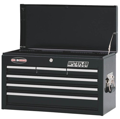 Waterloo PMX2606BK 26-Inch Wide by 12-Inch Deep by 15-1/3-Inch High Black Chest with 6 Ball Bearing Drawers and Tri Channel Construction