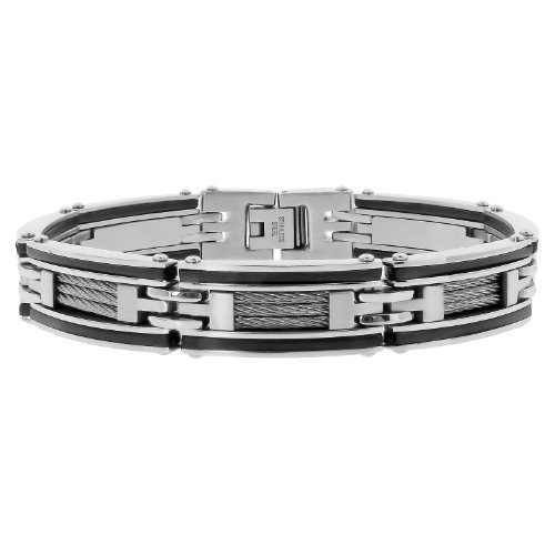 Men's Stainless Steel Cable and Rubber Bracelet with Black Plating, 8.5''