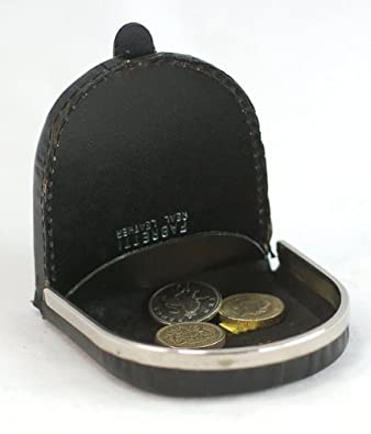 GENTS LEATHER METAL RIMMED COIN PURSE (1693) (BLACK)