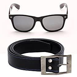 Random 30C Mens Belt and Black Wayfarer Sunglass Combo (BlackBlue)(9C18WFBTBB)