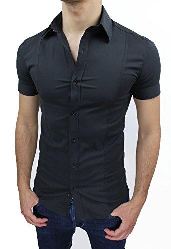 Camicia uomo Slim fit nero aderente elasticizzata manica corta casual (M)
