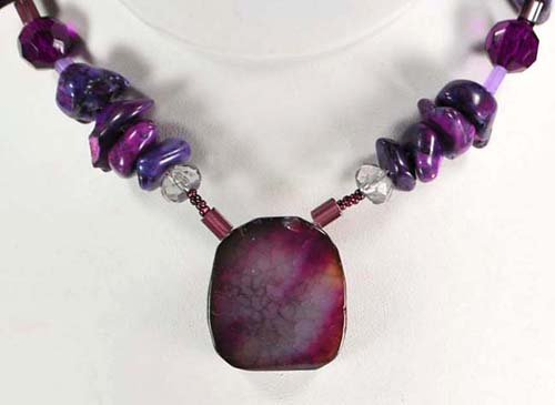 Purple Turquoise & Agate, Crystal Necklace N2_0422_09