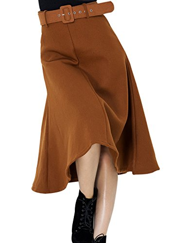 RC Women's Wool Blends Retro High Waist Belted Pleated Skirt Brown