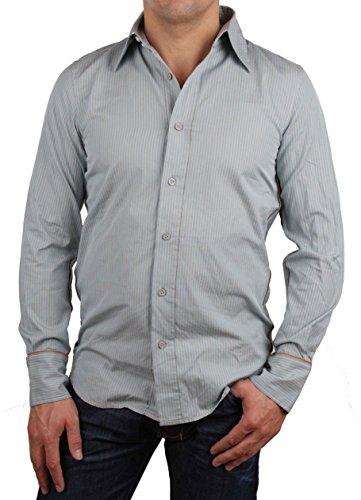 Diesel Camicia Uomo Camicia Tempo Libero A Maniche Lunghe Skambya Tgl S #1 - cotone, Hellblau / Grau, 100% cotone 100% cotone, Uomo, S, Celeste / Grigio