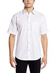 Greenfibre Men's Casual Shirt (59IT_42_White and Black)