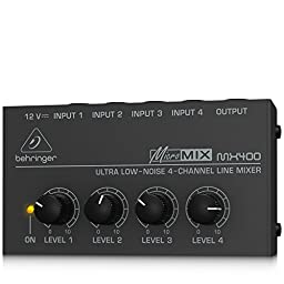 Behringer MicroMIX MX400 Low-Noise 4-channel Line Mixer, Black