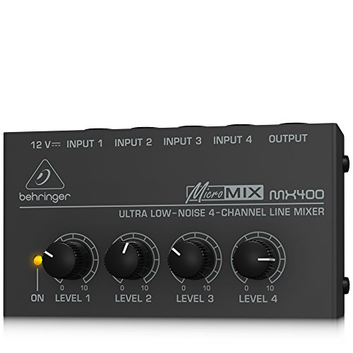 Behringer MicroMIX MX400 Low-Noise 4-channel Line Mixer, Black (Battery Powered Audio Mixer compare prices)