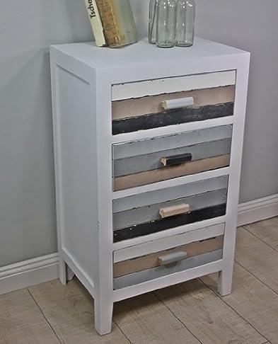 Cassettiera in stile rustico, in legno dipinto, colore: bianco, marrone, nero